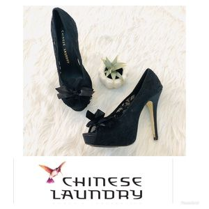 Chinese Laundry | Black Lace Peep Toe Heels 8.5